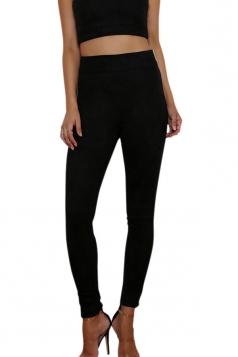 Womens Close-Fitting High Waisted Zipper Plain Leisure Pants Black