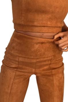 Womens Close-Fitting High Waisted Zipper Plain Leisure Pants Brown