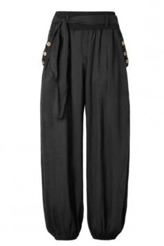 Womens Oversized Waist Tie Pocket Button Plain Leisure Pants Black