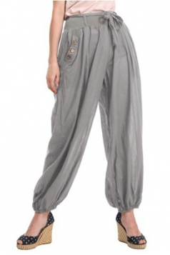 Womens Oversized Waist Tie Pocket Button Plain Leisure Pants Gray