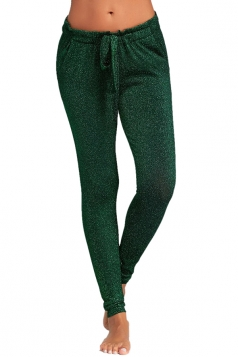 Womens Close-Fitting Waist Tie Pocket Sequin Plain Leisure Pants Green