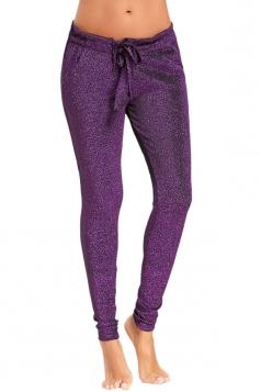 Womens Close-Fitting Waist Tie Pocket Sequin Leisure Pants Purple