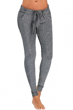 Womens Close-Fitting Waist Tie Pocket Sequin Leisure Pants Silver