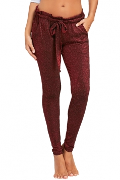 Womens Close-Fitting Waist Tie Pocket Sequin Plain Leisure Pants Ruby