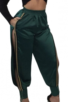 Womens Sexy Lace Up Side Slit Oversized Plain Leisure Pants Green