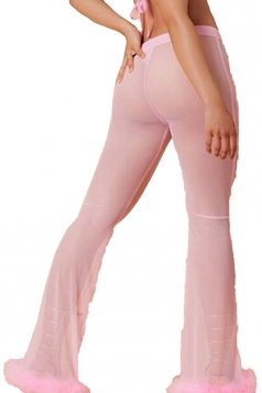 Womens Sexy High Waisted Fur Hem Sheer Plain Leisure Pants Pink