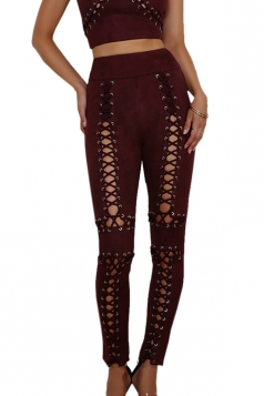Womens Sexy Lace Up Zipper High Waisted Plain Ripped Leggings Ruby