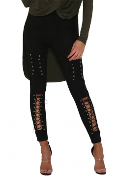 Womens Sexy Lace Up High Waisted Plain Ripped Leggings Black