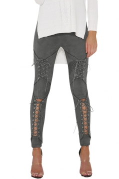 Womens Sexy Lace Up High Waisted Plain Ripped Leggings Gray