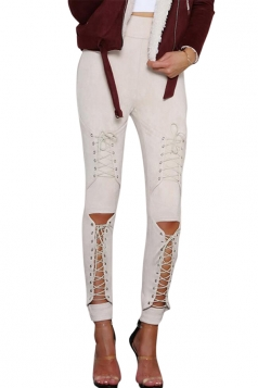 Womens Sexy Lace Up High Waisted Plain Ripped Leggings Khaki