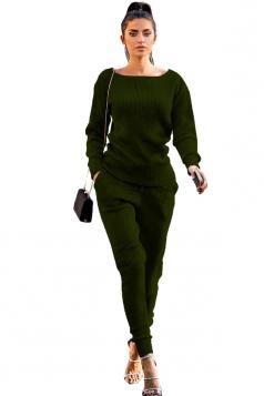 Womens Crew Neck Long Sleeve Top&Leisure Pants Plain Suit Dark Green