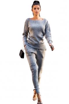 Womens Crew Neck Long Sleeve Top&Pockets Leisure Pants Plain Suit Gray
