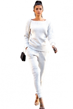 Womens Crew Neck Long Sleeve Top&Pocket Leisure Pants Plain Suit White