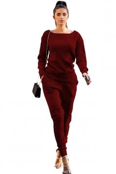 Womens Crew Neck Long Sleeve Top&Pockets Leisure Pants Plain Suit Ruby