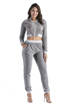 Womens Sexy Long Sleeve Zipper Crop Top&Pockets Pants Sports Suit Gray