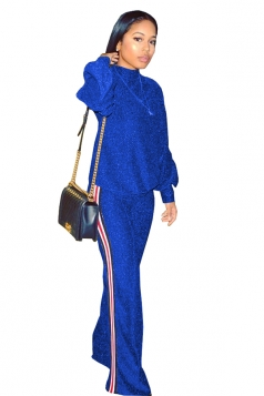 Womens Long Sleeve Top&Wide Legs Pants Sequined Suit Sapphire Blue