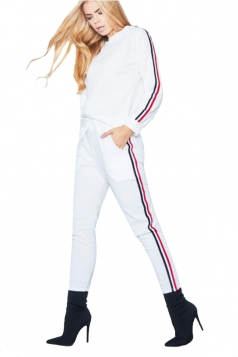 Womens Long Sleeve Top&Drawstring Pants Strip Leisure Suit White