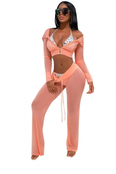 Womens Sexy Zipper Hooded Crop Top&Drawstring Pants Sports Suit Pink