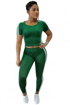 Short Sleeve Crop Top&High Waist Leggings Elsatic Sports Suit Green