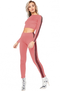 Womens Round Neck Crop Top&High Waist Skinny Leggings Long Suit Pink