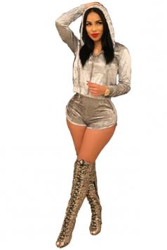 Womens Kangaroo Pocket Zipper Hooded Short Pants Pleuche Suit Silvery