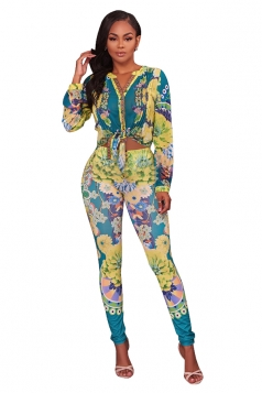 V-Neck Blouse&Skinny Leggings Floral Printed Long Suit Light Green