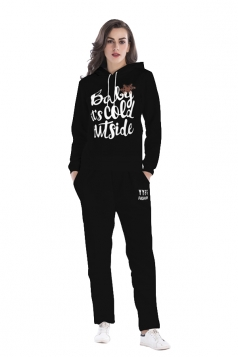 Womens Drawstring Hooded Top Letter Printed Sports Sweater Suit Black