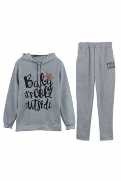 Womens Elastic Drawstring Hooded Top Letter Printed Sweater Suit Gray