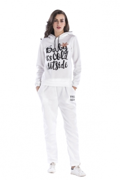 Womens Drawstring Hooded Top Letter Printed Sports Sweater Suit White