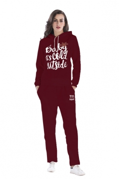 Womens Elastic Drawstring Hooded Top Letter Printed Sweater Suit Ruby
