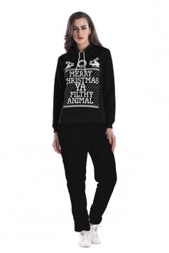 Women Hooded Reindeer Printed Top Elastic Christmas Sweater Suit Black