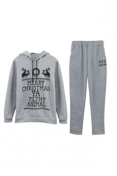 Womens Hooded Reindeer Printed Top Elastic Christmas Sweater Suit Gray
