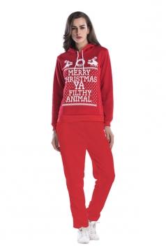 Womens Hooded Reindeer Printed Top Elastic Christmas Sweater Suit Red