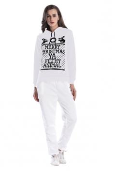 Womens Drawstring Hooded Reindeer Printed Christmas Sweater Suit White