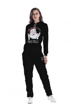 Womens Hooded Santa Printed Top Elastic Christmas Sweater Suit Black