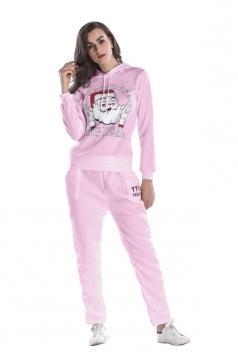 Womens Drawstring Hooded Santa Printed Top Christmas Sweater Suit Pink