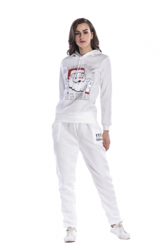 Womens Hooded Santa Printed Top Elastic Christmas Sweater Suit White