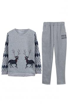 Womens Crew Neck Reindeer Printed Top Christmas Long Sweater Suit Gray