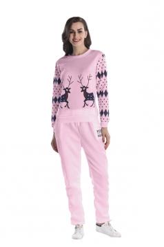 Womens Crew Neck Reindeer Printed Top Christmas Long Sweater Suit Pink
