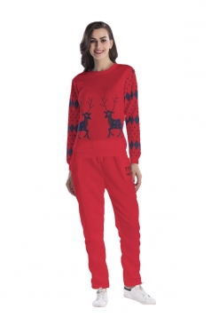 Womens Crew Neck Reindeer Printed Top Christmas Long Sweater Suit Red