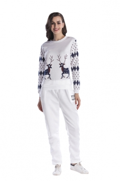 Womens Crew Neck Reindeer Printed Top Christmas Sweater Suit White