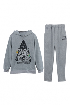 Womens Pullover Hooded Christmas Tree Printed Long Sweater Suit Gray