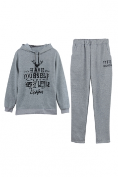 Drawstring Hooded Christmas letter Printed Elastic Sweater Suit Gray