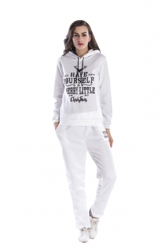 Womens Pullover Hooded Christmas letter Printed Top Sweater Suit White