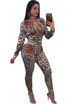 Long Sleeve Zipper Floral Leopard Printed Close-Fitting Jumpsuit Gray