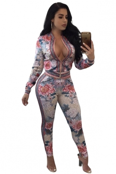 Long Sleeve Zipper Top Floral Printed Close-Fitting Jumpsuit White