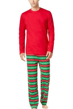 Mens Long Sleeve Striped Christmas Family Pajama Set Green