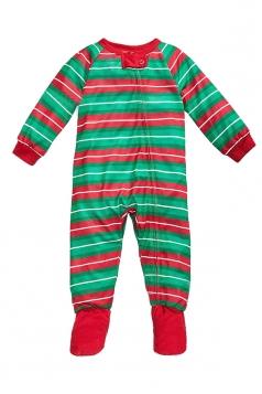 Baby Long Sleeve Striped Christmas Family Footie Pajama Light Green