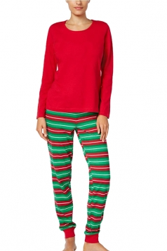 Womens Long Sleeve Striped Christmas Family Pajama Set Red