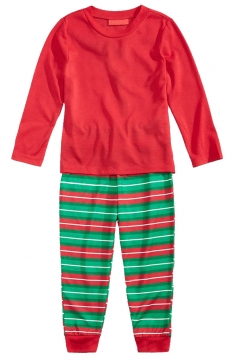 Kids Long Sleeve Striped Christmas Family Pajama Set Watermelon Red